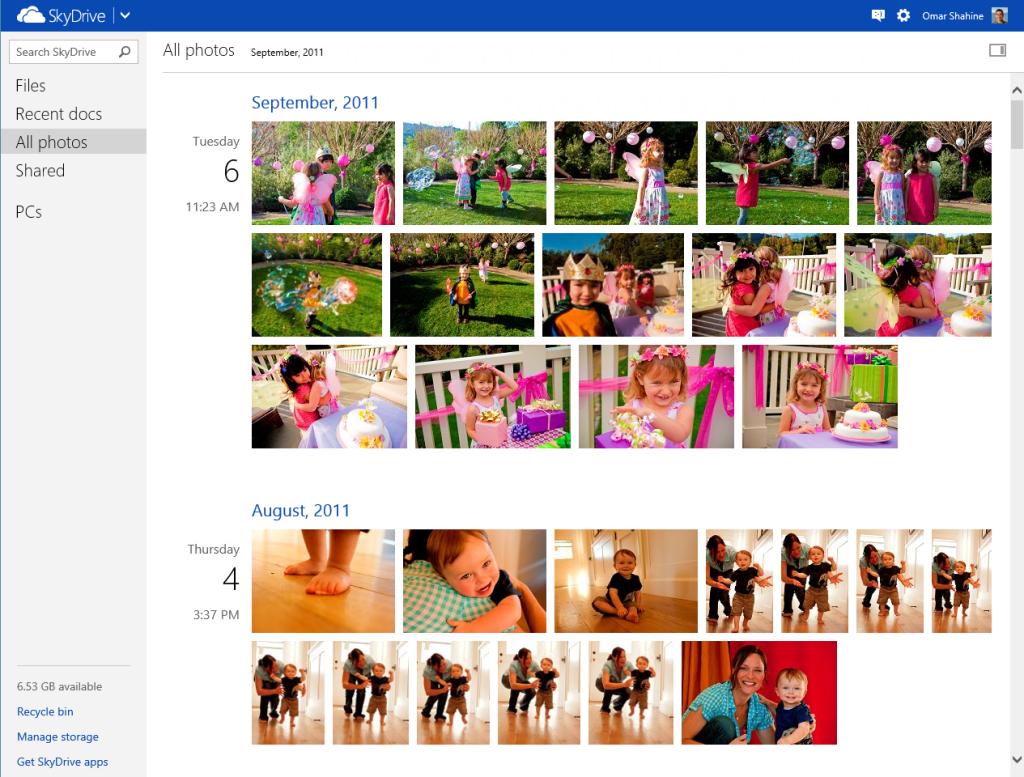 Microsoft SkyDrive's new photo timeline