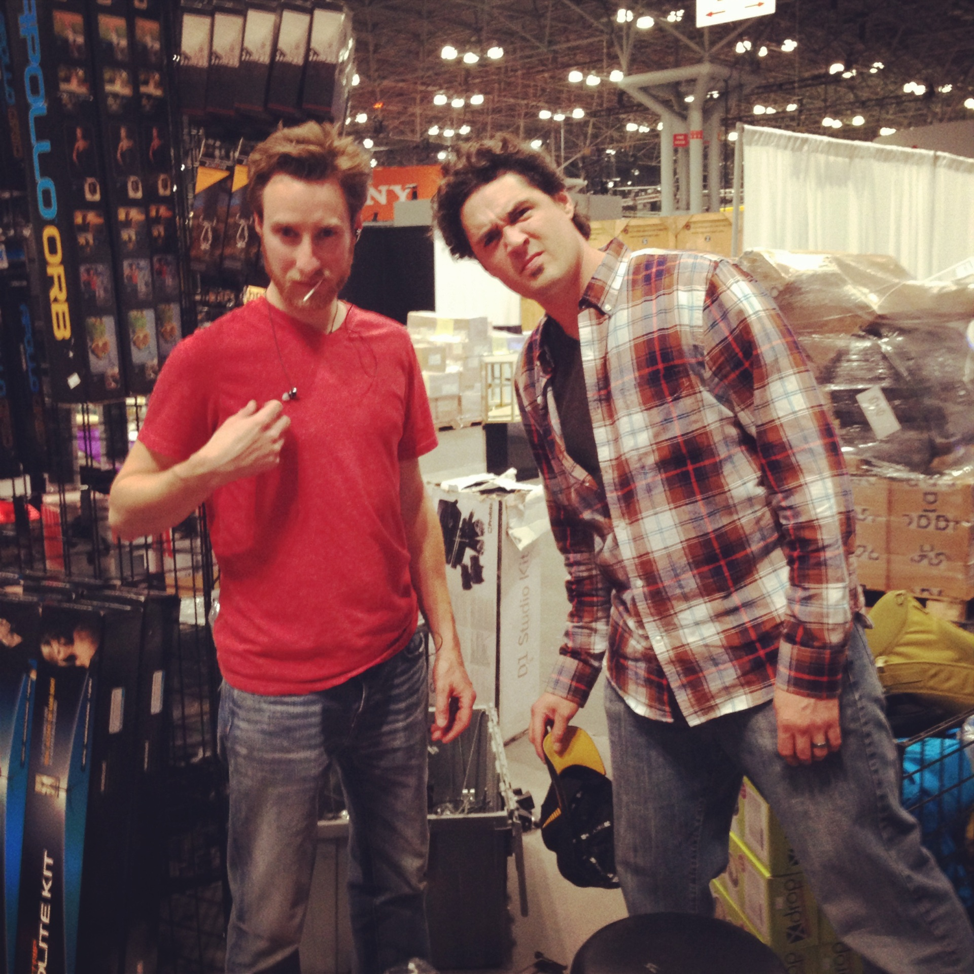 Adam and Ken setting up the booth
