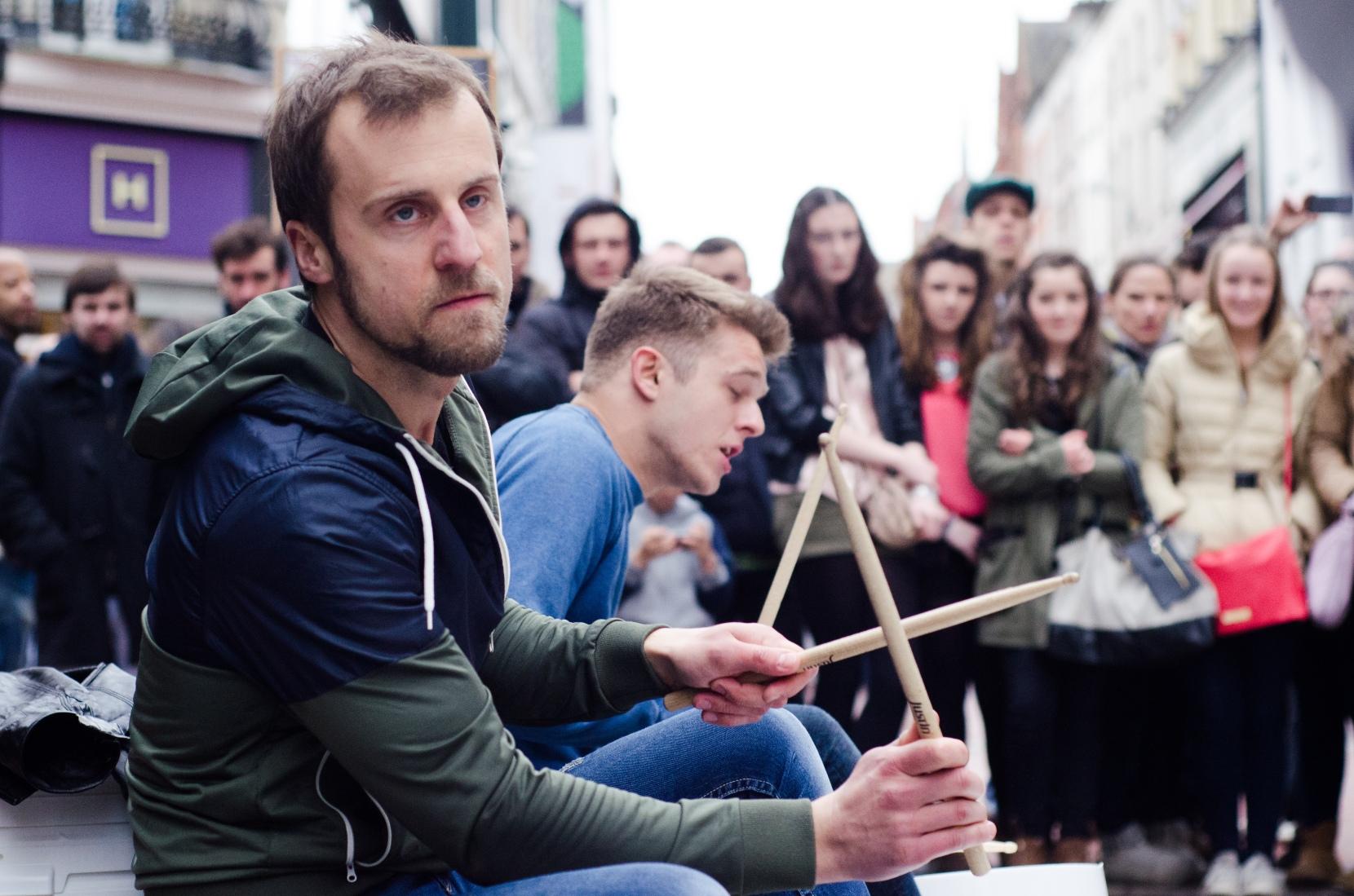 Street performers on Grafton Street.