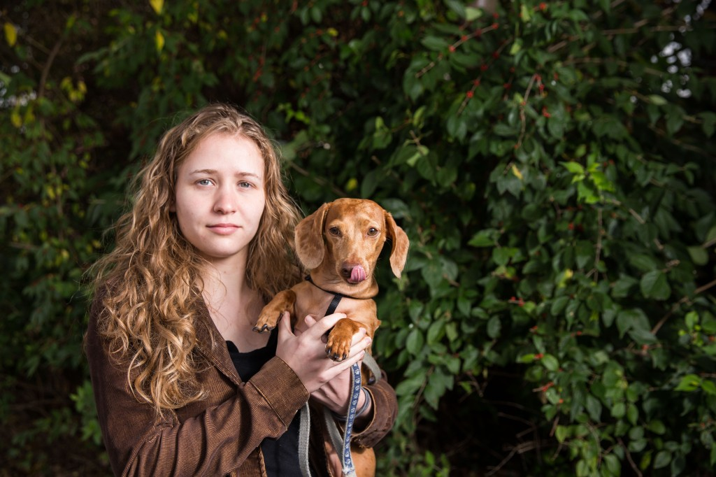 "Lauren and Strudel the Dog. Put  a strobe in a 22"" beauty dish and the whole world is your studio."