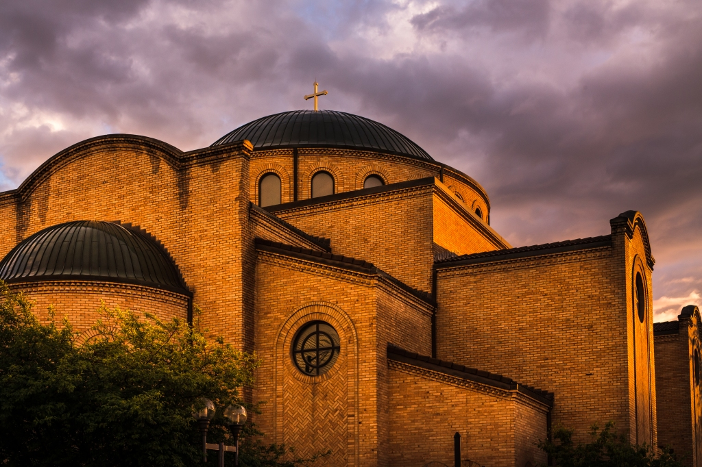 This Greek Orthodox church lit up as the sun set. 1-250 sec at f - 8.0 ISO 640
