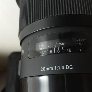 Sigma 20mm Art lens focus scale.