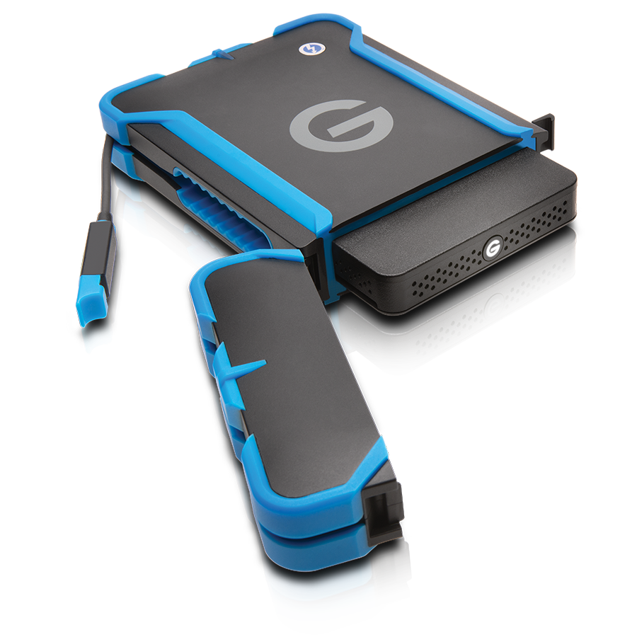 G-Tech portable hard drive with ATC case to protect it from the elements.