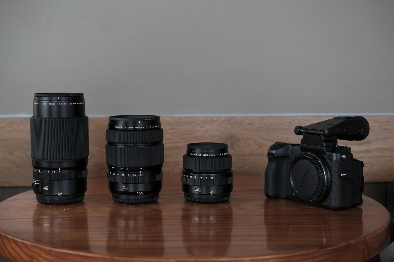 Fujifilm GFX 50s w- 32-64mm f-4, 63mm f-2.8, 120mm f-4